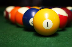 Billiard balls. Over the table royalty free stock image