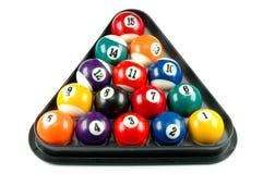 Billiard balls. Rack with set of billiard balls stock photo