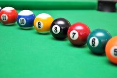 Billiard balls. On billiard table stock image