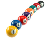 Billiard balls. Billiar balls from number one to eight Stock Photography