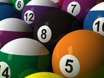 Billiard Balls. Colorful striped billiard balls with eight ball in center Stock Illustration