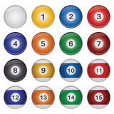 Billiard Balls. Image of a collection of colorful billiard balls isolated on a white background Stock Photography