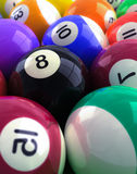 Billiard balls. 3d rendering, closeup of billiard balls, eight ball focus Royalty Free Illustration