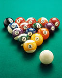 Billiard balls. On the pool table to start playing stock photo