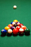 Billiard Balls. A pyramid of billiard balls racked up on a pool table Royalty Free Stock Image
