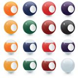 Billiard balls. Colorful billiard balls; balls are blank (no numbers) for copy space Stock Illustration