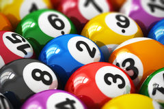 Billiard balls. Macro view of color balls with numbers for american billiard game with selective focus effect Vector Illustration