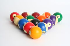 Billiard balls. Over white background stock images