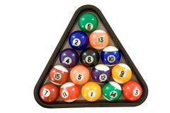 Billiard Balls. Billiard triangle with colorful billard balls. Isolated on a white background stock photo