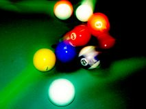 Billiard balls. In motion. Strong hit Royalty Free Stock Photos