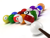 Billiard balls. This is billiard balls. Usable for catalogue or sports journals royalty free stock image