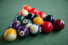 Billiard balls. In a triangle shape royalty free stock photo