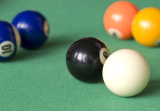 Billiard balls. Six balls on a pool table Royalty Free Stock Photography