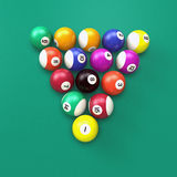 Billiard Balls. Billiards balls on green background Stock Illustration