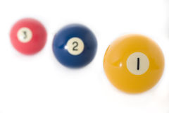 Billiard balls. Close up on white background royalty free stock photo