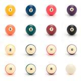 Billiard balls. On white background stock photos
