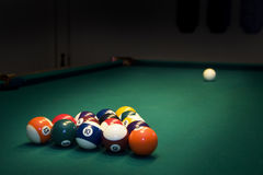 Billiard balls. Racked billiard balls, ready for the break stock photos