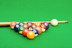 Billiard balls arranged on a green pool table. Billiard balls arranged on a green material covered pool table Royalty Free Stock Photography