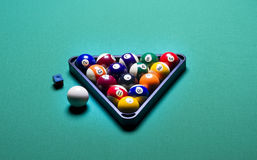 Billiard balls. Arranged in a triangle Royalty Free Stock Image