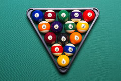 Billiard balls. Arranged in a triangle Royalty Free Stock Images
