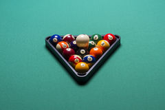 Billiard balls. Arranged in a triangle Stock Photography