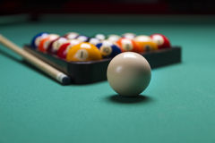 Billiard balls. Arranged in a triangle;selective focus on cue ball;shallow focus Stock Image