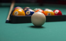Billiard balls. Arranged in a triangle;selective focus on cue ball;shallow focus; focus is on the white ball Royalty Free Stock Photos