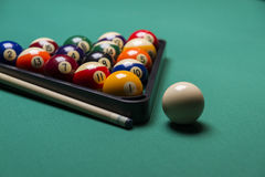 Billiard balls. Arranged in a triangle;selective focus on  balls ;shallow focus Stock Photos