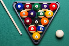Billiard balls. Arranged in a triangle viewed from above Stock Photos