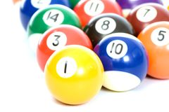 Billiard balls arranged on a white background. Not isolated Royalty Free Stock Photos