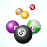 Billiard Balls Background. Vector. Colorful Billiard Balls with Numbers Background. Vector illustration Royalty Free Illustration