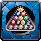 Billiard balls on blue cracked web button Royalty Free Stock Photo