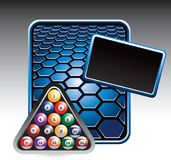 Billiard balls on blue hexagon banner Royalty Free Stock Images