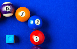 Billiard balls in a blue pool table. Royalty Free Stock Photos