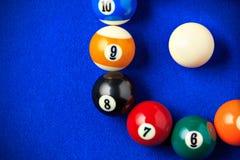Billiard balls in a blue pool table. Stock Photo
