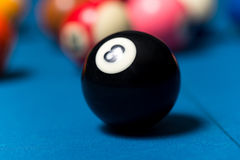 Billiard Balls On Blue Table Royalty Free Stock Images