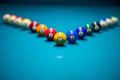 Billiard balls. On blue table Stock Photo