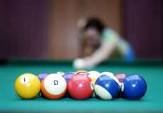 Billiard balls and blurred woman in the background. Billiard balls on green baize billiard table and blurred woman with cue in the background, focus on balls stock images