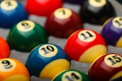 Billiard balls in box close up. Billiard balls in box, selective focus over number 10 Stock Photography