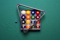 Billiard balls. In a box and triangle Stock Image