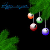 Billiard balls on Christmas tree branch Royalty Free Stock Photo