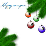 Billiard balls on Christmas tree branch Royalty Free Stock Photos