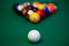 Billiard balls closeup Stock Photos