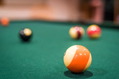 Billiard Balls. A closup of several billiard balls, with the background balls out of focus Stock Photo