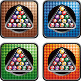 Billiard balls with colored checkered web icons Royalty Free Stock Photos