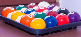 Billiard balls. Colorful  in a box, close-up, American Stock Images