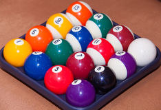 Billiard balls. Colorful  in a box, close-up, American Royalty Free Stock Photography