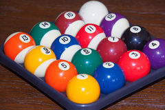 Billiard balls. Colorful  in a box, close-up, American Royalty Free Stock Image