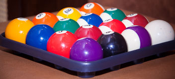 Billiard balls. Colorful  in a box, close-up, American Royalty Free Stock Photos
