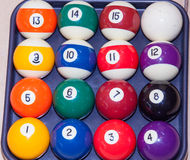 Billiard balls. Colorful  in a box, close-up, American Royalty Free Stock Images